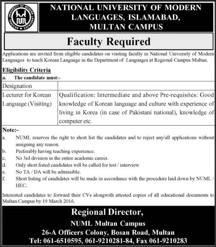 National University of Modern Languages jobs in numl islamabad