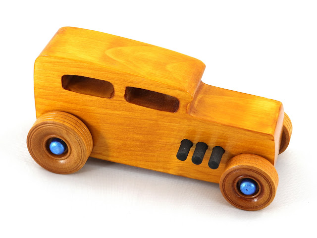 Handmade Wooden Toy Car, Hot Rod 1932 Ford Sedan From the Hot Rod Freaky Ford Series