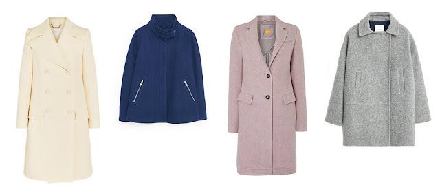 Белое, синее, розовое и серое пальто