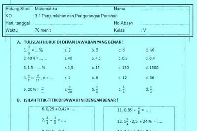 Soal Ulangan Harian Matematika Kelas 5 Kurikulum 2013  Wahana Info Pendidikan