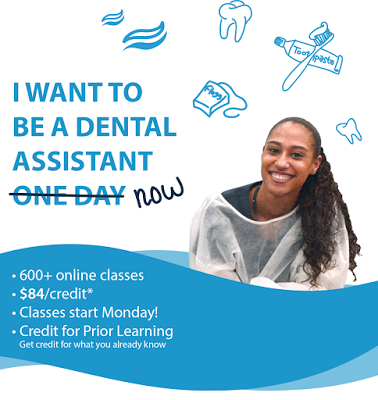 poster for dental clinic.  Student smiling at camera.  Text: I want to be a dental assistant (one day crossed out) now!  600+online classes, $84 a credit, Creidt for Prior Learning-  get crdite for what you already know.  Illustrations of dental images.