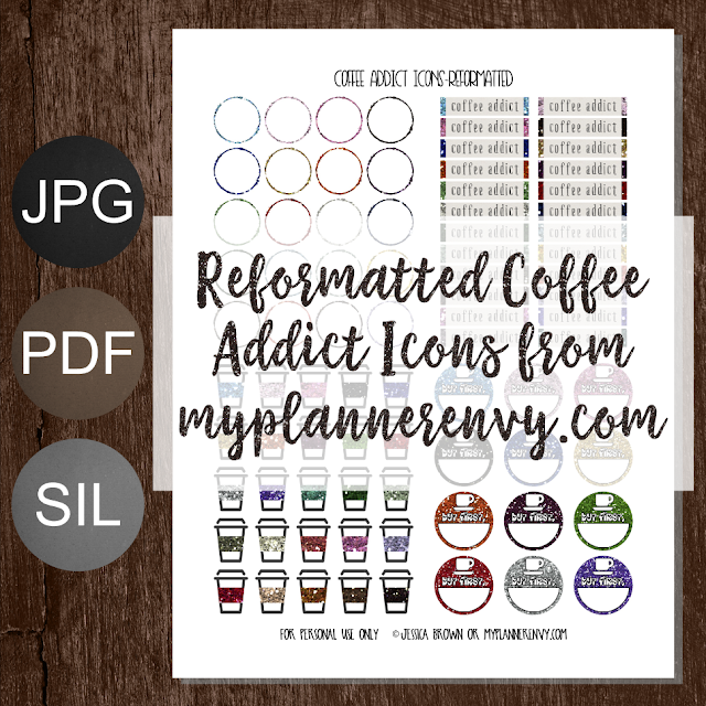 Free Printable Reformatted Coffee Addict Icons from myplannerenvy.com