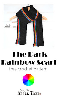 The Dark Rainbow Scarf FREE CROCHET PATTER, by Over The Apple Tree