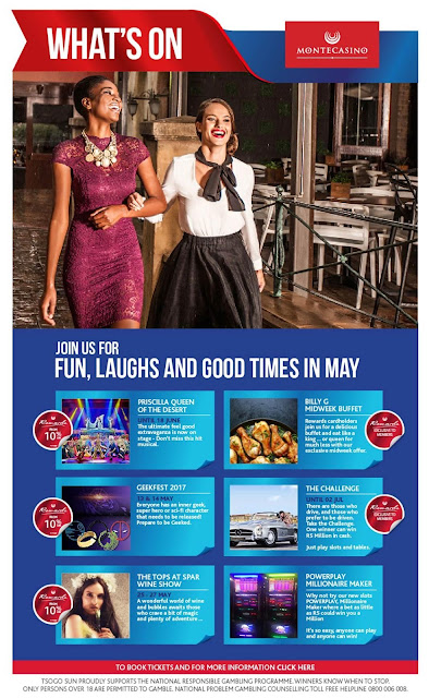 What's On @MontecasinoZA @TsogoSun #Gauteng In May 2017