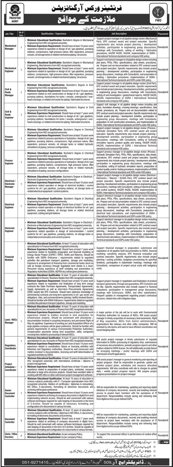 Pakisatn Army jobs in Frontier Works Organization (FWO) Joba February 2019