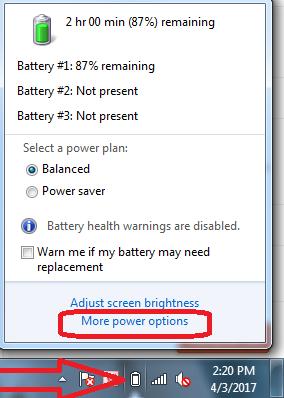 thay đổi chế độ cảnh báo hết pin laptop