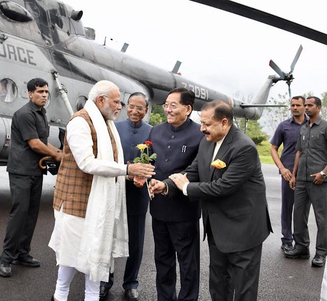 Prime minister Narendra Modi reaches Sikkim met CM Pawan Chamling