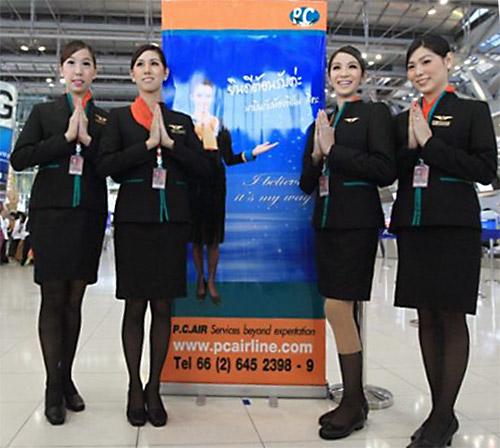 P.C. Air's transgender flight attendants Nathatai Sukkaset, Dissanai Chitpraphachin, Phuntakarn Sringern and Chayathisa Nakmai