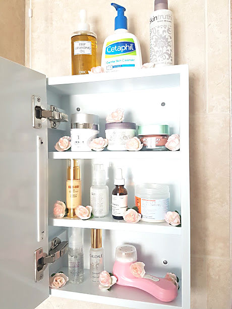 skincare storage bathroom