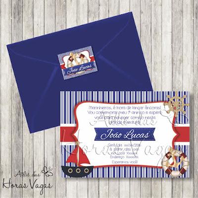 convite aniversário infantil artesanal personalizado marinheiro marujo azul e vermelho âncora barquinho menino 1 aninho bebê festa envelope adesivo tag