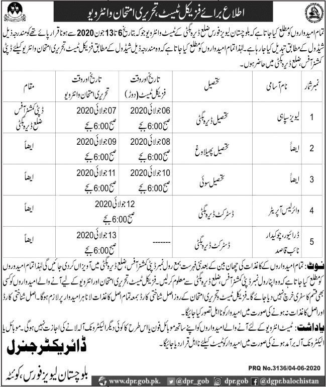 Balochistan Levies Force Jobs 2020 Apply Now