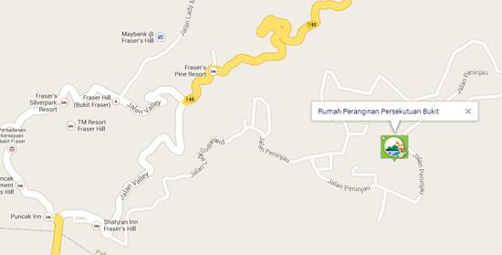 Peta lokasi Rumah Peranginan Persekutuan Bukit Fraser