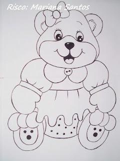 risco de ursinha para pintura em fralda