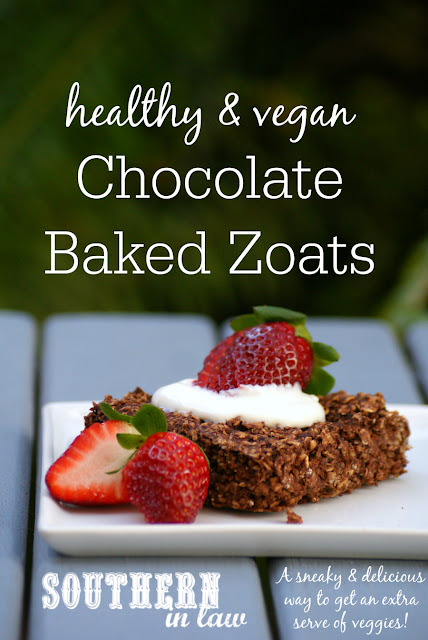 Healthy Chocolate Baked Zoats Recipe - Chocolate Oatmeal with Zucchini - Clean eating recipe, gluten free, low fat, egg free, nut free, vegan,  dairy free, hidden serve of veggies