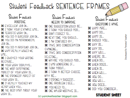 Sentence Frames, Writing Sentence Frames, Writer's Workshop Peer Review