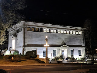 Franklin (MA) Public Library at night