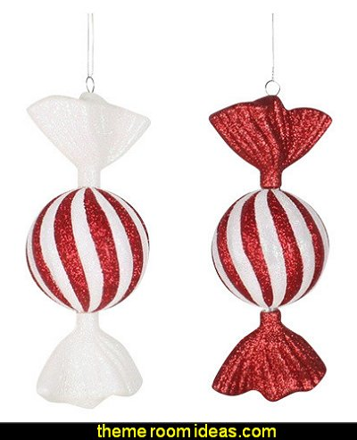 Candy Ornament Red With White Stripes  candy Christmas theme decorating - candy themed christmas decorations - christmas candyland decorations -  candy ornaments -  candy shaped holiday ornaments - candy themed Christmas decor -   lollipop candy swirls Throw Pillows - Candy Christmas Tree  - candy stripe Chritmas decor - Candy Cupcake Ornaments