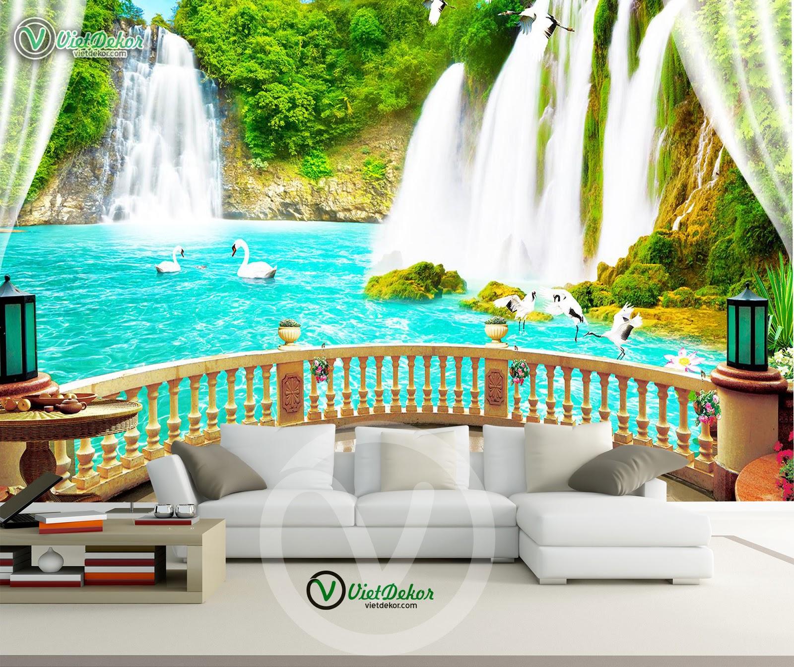 Tranh dán tường thác nước phong thủy cho phòng khách