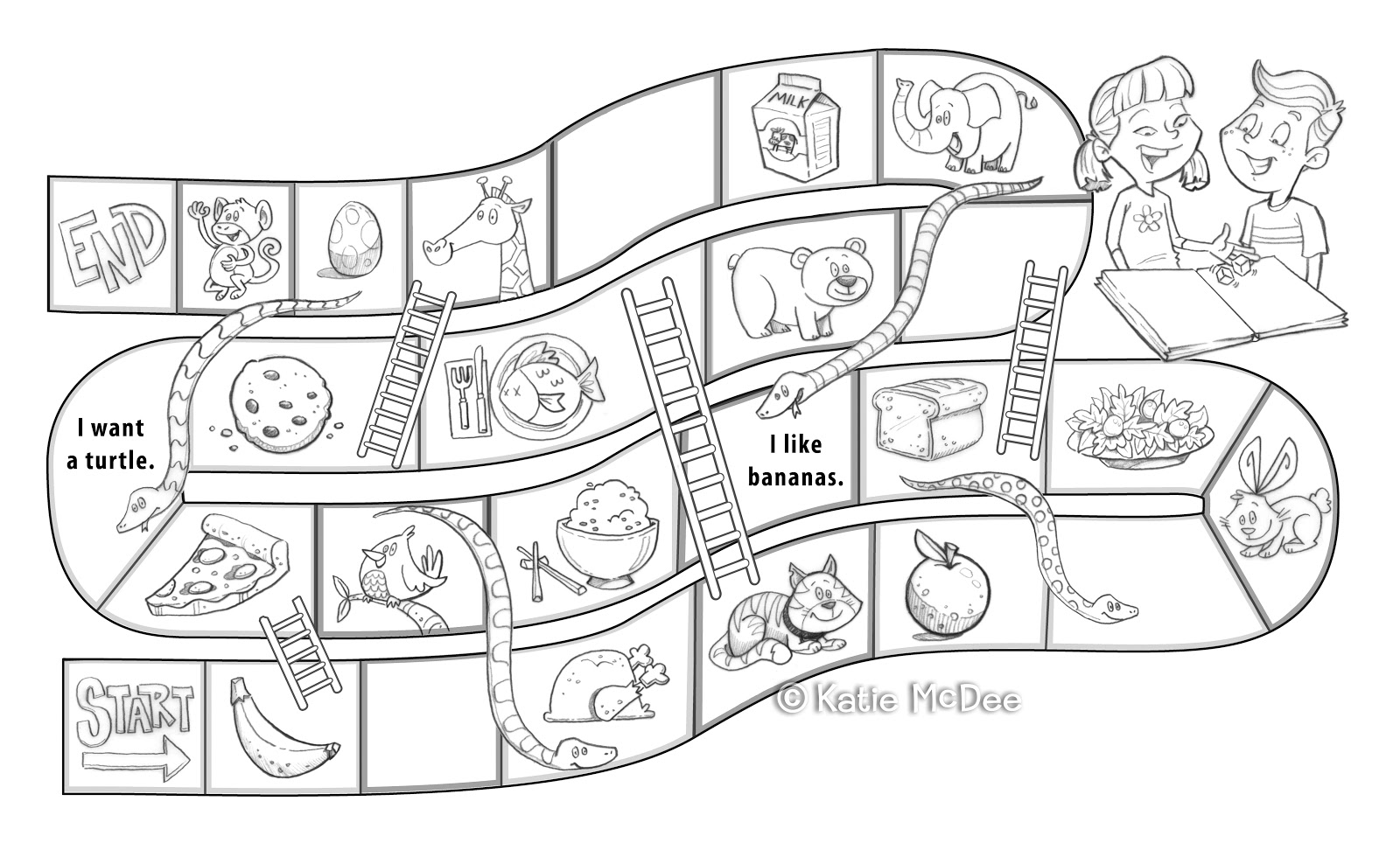 Blank Snake Board Game Sketch Coloring Page
