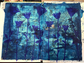 art journal page by Jenny James featuring a wildflower stencil