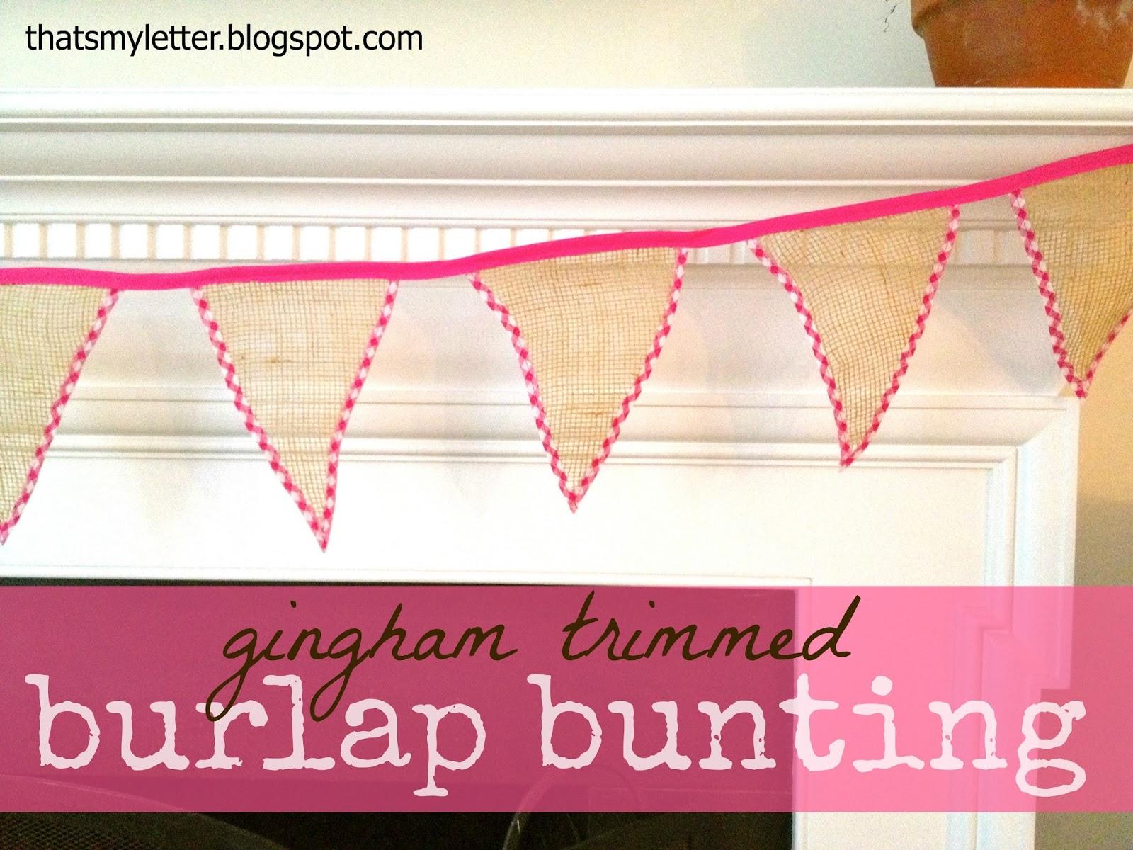 diy gingham trimmed burlap bunting