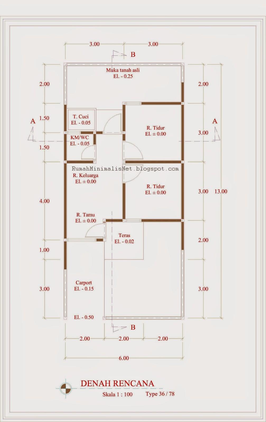Contoh Denah Rumah Minimalis Type 36 78 Solusi Hunian Mini Elegan