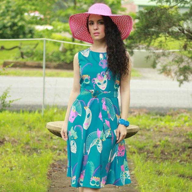 Blue Mask Print Dress