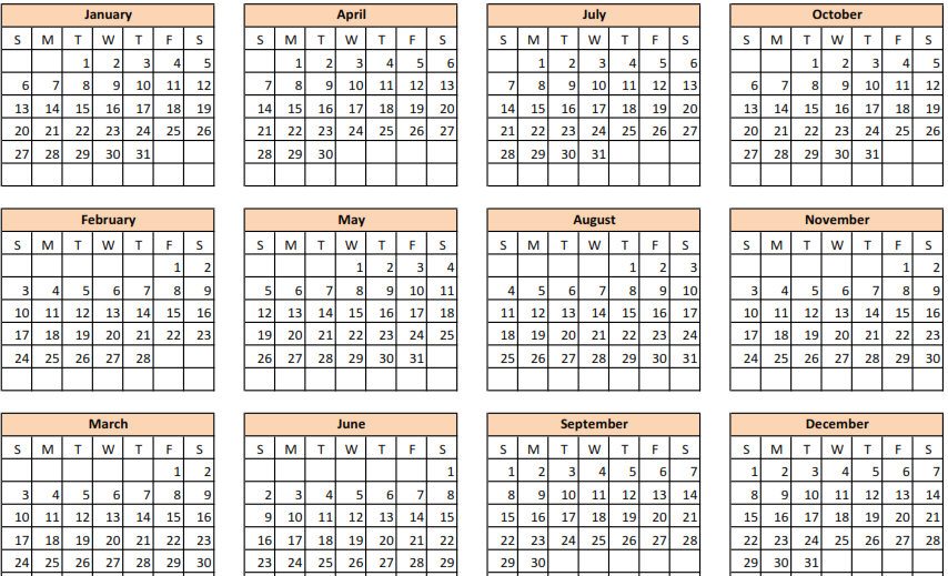 one page calendars 2015 template