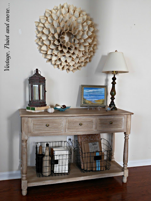 Vintage, Paint and more... vintage beach/coastal decor with a rustic lantern and lamp and seashells