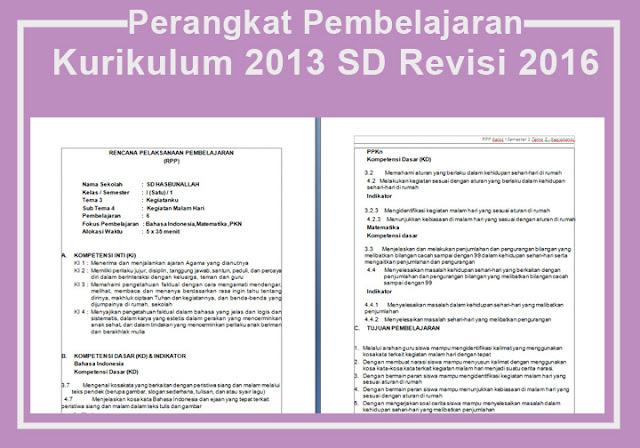 Perangkat Pembelajaran Kurikulum 2013 SD Revisi 2016