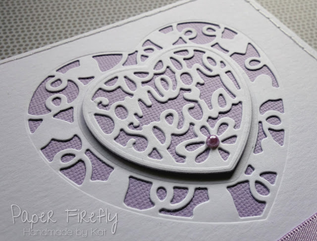 Romantic lilac card with die cut hearts