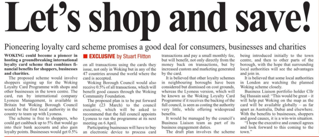 Tara talks lyoness loyalty card accepted at woking council and the local paper were very enthusiastic and wrote this article on their front page colourmoves