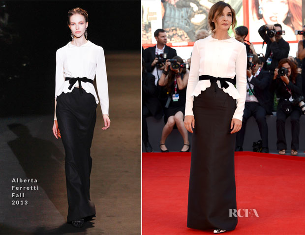 The French actress wore an Alberta Ferretti white crepe jacket with a black velvet bow and scalloped high-low hem, which was paired with a black, siren Mikado silk skirt.