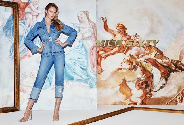 Candice Swanepoel in a jeans suit with transparant boots for Miss Sixty