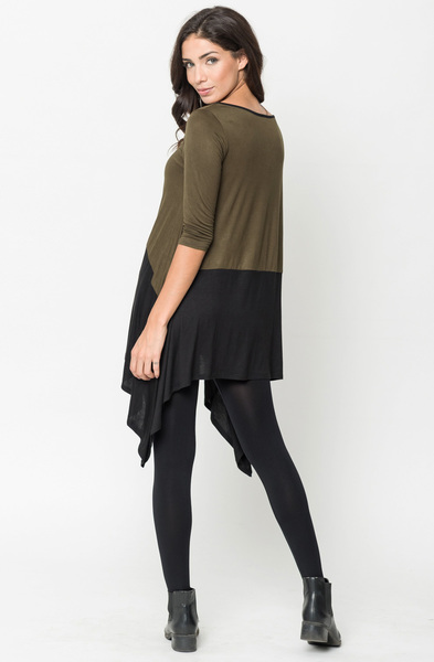Buy Now Olive Two Tone Jersey Tunic Online $20 -@caralase.com
