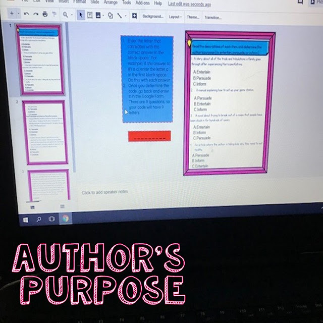 Author's Purpose Activity