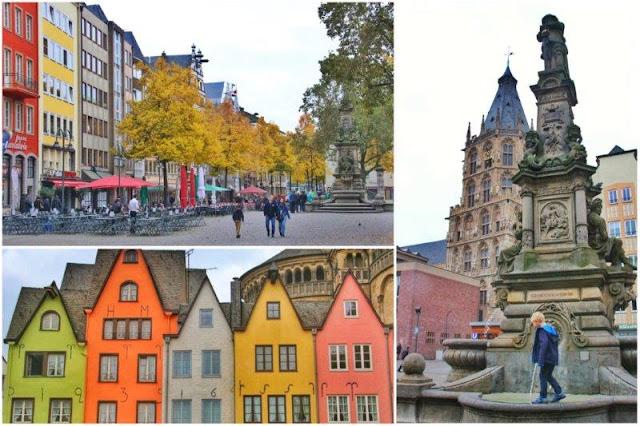 Calles y plazas en Colonia Koln – Coloridas casitas frente al rio Rin