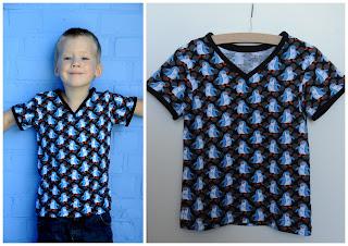 337697fe658315 T-shirt met V-halsje. Pinguin tricot - zwarte boordstof. Gepost door Sanne  Verhulst op zondag ...