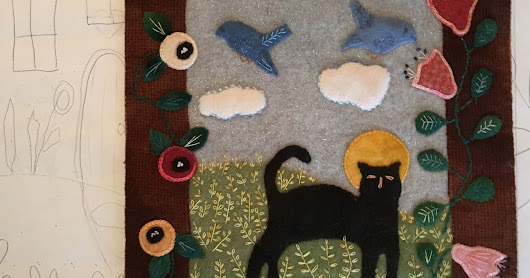 Cat in the Garden: Hooked and Appliqued