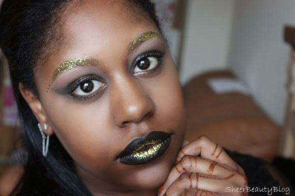 Sheer Beauty Editorial Gold Glitter Makeup Look