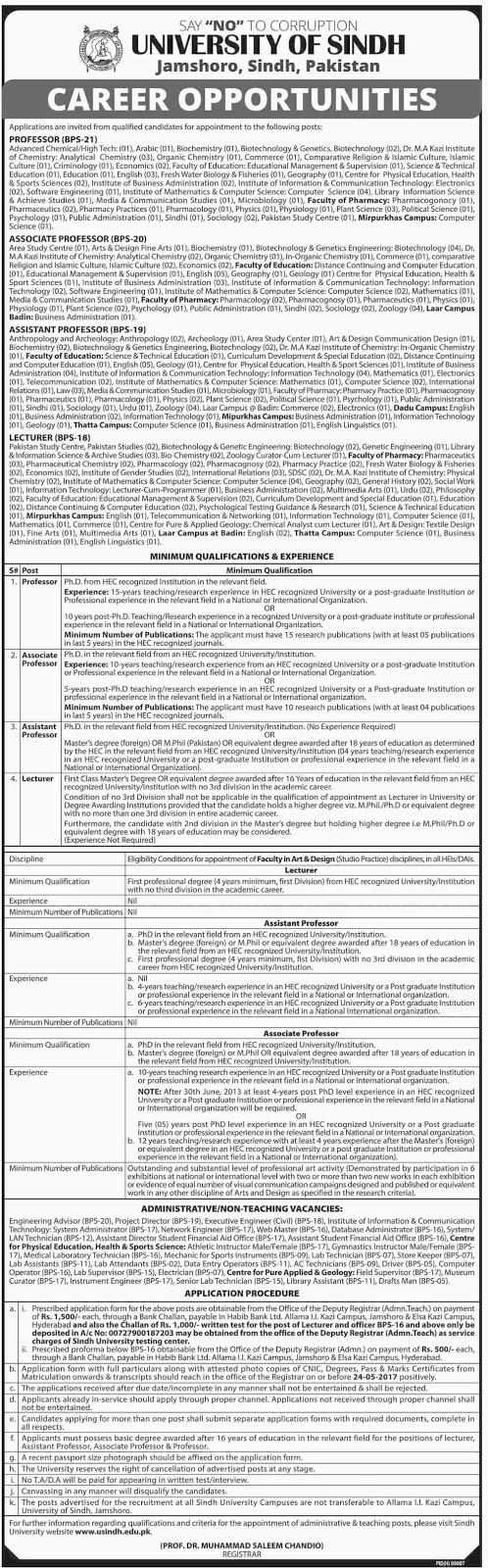 University Of Sindh Jamshoro Faculty Staff Required 27 Apr 2017