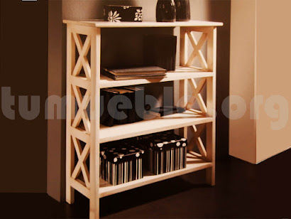 mueble libreria en madera maciza 3021