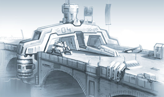 R O B O M O T O S:  Jamie Martin's 2D concept art, 3D designs, videos, graphics and more...: The Old Bridge Checkpoint