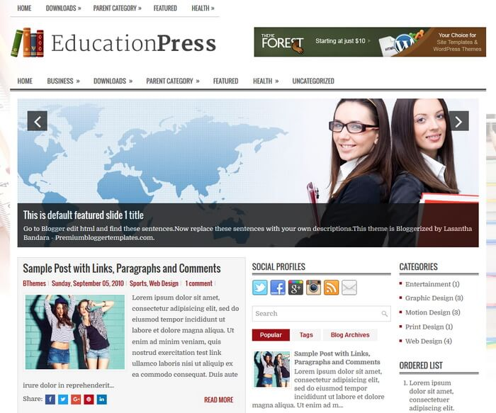 EducationPress Blogger Template has a Featured Posts Slider Free Download EducationPress