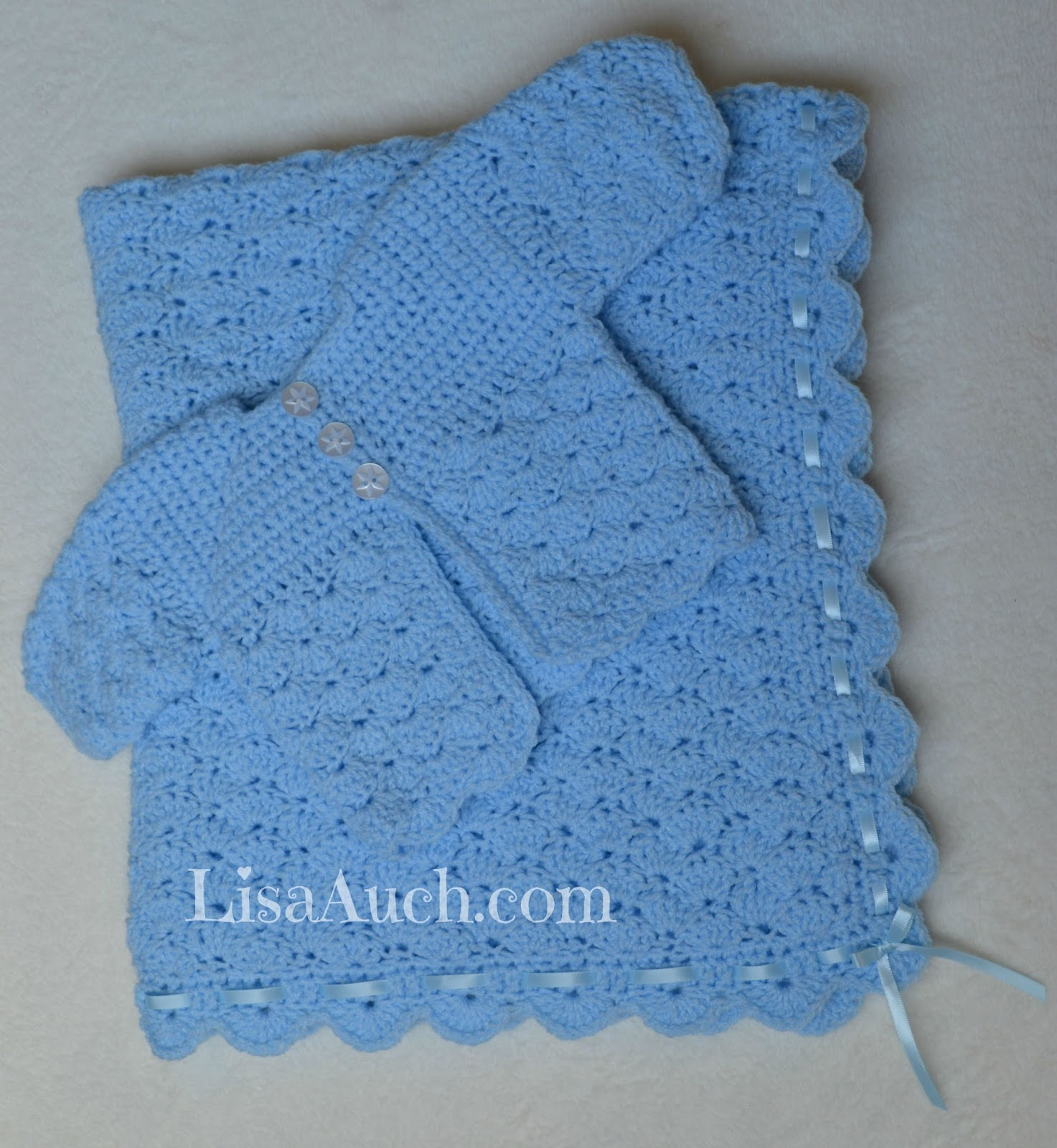 Free Crochet Patterns And Designs By Lisaauch Free Crochet Patterns For Babies Cardigan And Blanket Set The Perfect Crochet Set For A Boy Or Girl