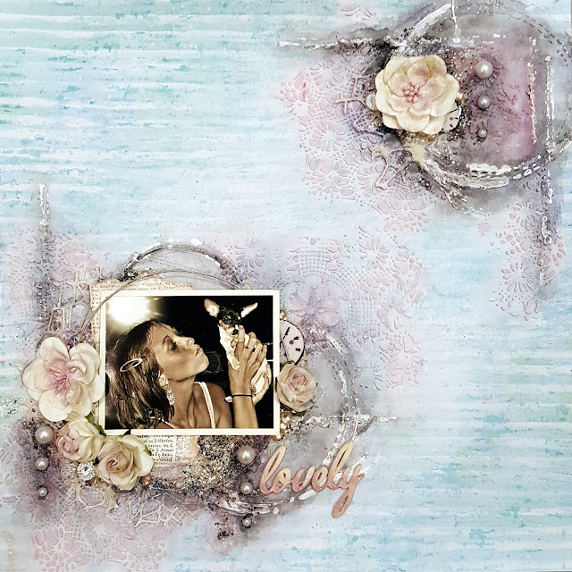 """Lovely"" mixed media scrapbooking layout - March, 2017 - Words and Paintery Challenge and 13@rts Challenge"