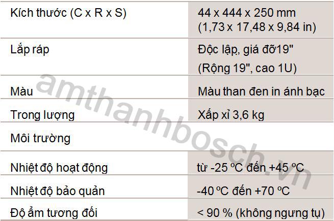 Thông số kỹ thuật nguồn BGM của PLE-SDT Plena Easy Line SD Tuner