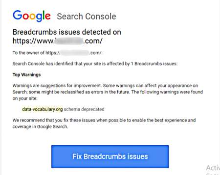 Breadcrumbs Schema Issue data Vocabulary Org  Deprecated Error Fixed