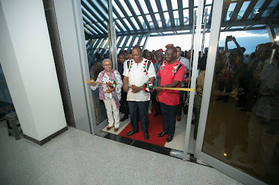 President Kenyatta opening the new SGR. PHOTO | PSCU