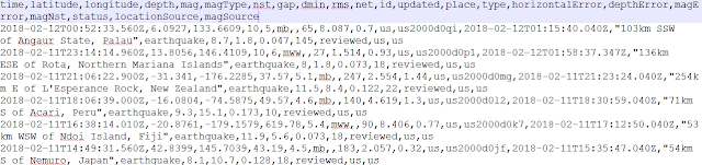 Screenshot of earthquake csv data